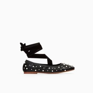 🔵Zara Ballerinas with Faux Pearls